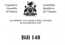 Bill 148 Receives Royal Assent
